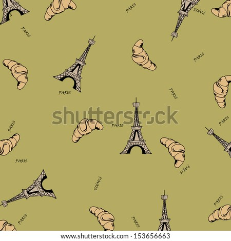 Paris seamless pattern with Eiffel tower and croissant - stock photo