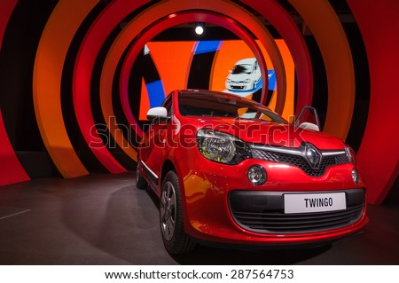 PARIS - SEPT 16, 2014: New car Renault Twingo at the company's stand during the atelier Renault Paris showroom. Avenue des Champs-�?lys�©es, Paris, France. - stock photo