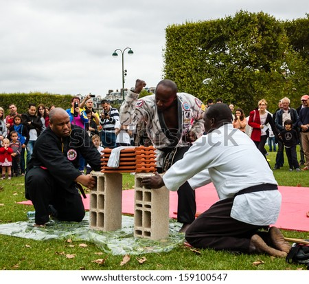 PARIS - SEPT 22: Unidentified man breaks the tiles performing Brazilian jiu-jitsu on September 22, 2013 in Paris, France. Famillathlon, action for raising awareness to sport, takes place in Paris. - stock photo