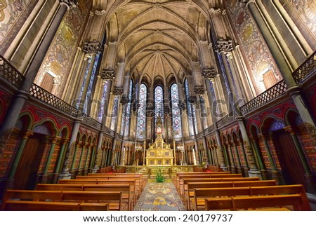 PARIS - SEPTEMBER 2014: Beautiful interior of the Basilica of Notre Dame de la Treille  on September 15 2014 in Lille, France - stock photo
