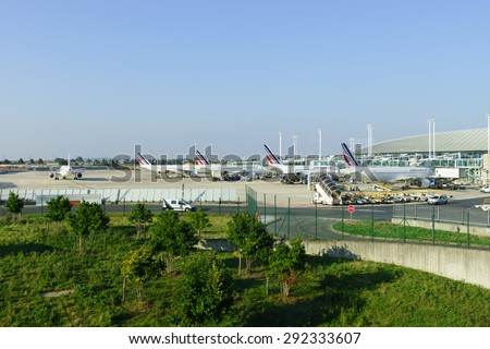 PARIS - SEPTEMBER 10, 2014: Charles de Gaulle Airport. Paris Charles de Gaulle Airport, also known as Roissy Airport, is one of the world's principal aviation centres - stock photo