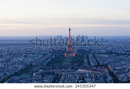 PARIS - SEPTEMBER 30, 2012: Eiffel tower at night  in Paris. Night in Paris with Eiffel tower, most visited monument of France with 200.000.000 visit - stock photo