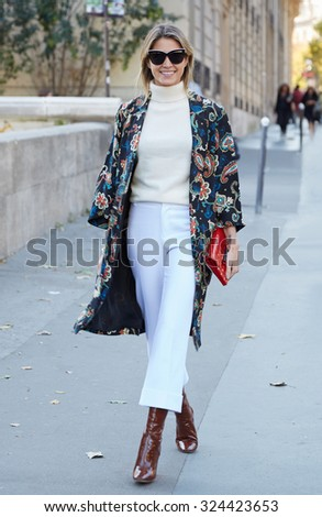 PARIS - SEPTEMBER 30: Helena Bordon poses for photographers before Rochas show, Paris Fashion Week Day 2, Spring / Summer 2016 street style on September 30, 2015 in Paris.