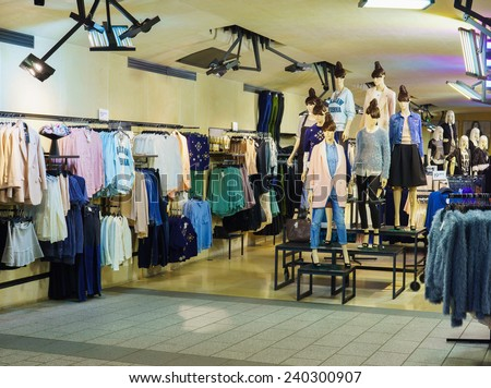 PARIS - SEPTEMBER 09: modern boutique interior on September 09, 2014 in Paris, France. Paris, aka City of Love, is a popular travel destination and a major city in Europe - stock photo