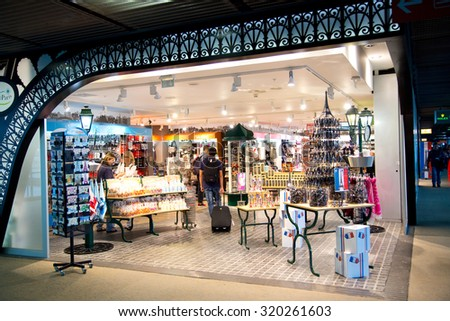 PARIS - SEPTEMBER 5TH: Duty free at Charle de gaulle airport on September the 5th, 2015 in Paris, France. Charle de gaulle is one of the busiest airports in the world - stock photo