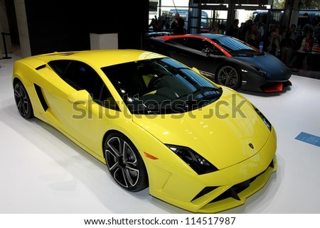 PARIS - SEPTEMBER 30: The Lamborghini Gallardo LP 560-4 and the Supeleggera displayed at the 2012 Paris Motor Show on September 30, 2012 in Paris - stock photo