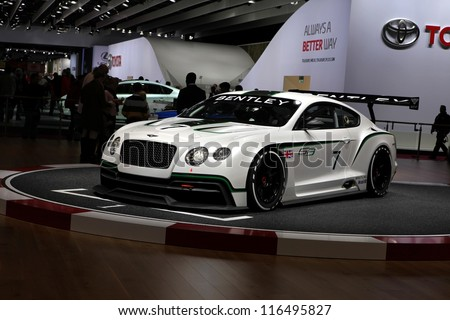 PARIS - SEPTEMBER 30: The new Bentley Continental GT3 displayed at the 2012 Paris Motor Show on September 30, 2012 in Paris - stock photo