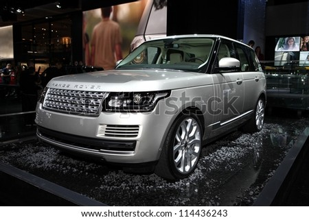 PARIS - SEPTEMBER 30: The new Range Rover - Land Rover displayed at the 2012 Paris Motor Show on September 30, 2012 in Paris - stock photo