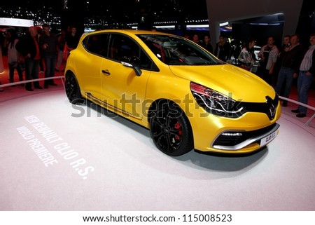 PARIS - SEPTEMBER 30: The new Renault Clio RS displayed at the 2012 Paris Motor Show on September 30, 2012 in Paris - stock photo