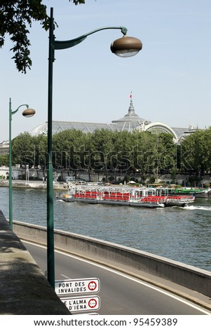 Paris sightseeing from boat on Seine - stock photo
