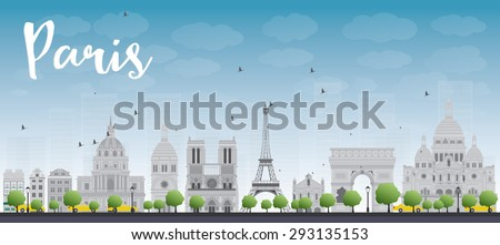 Paris skyline with grey landmarks and blue sky. Business travel and tourism concept with historic buildings. Image for presentation, banner, placard and web site. - stock photo