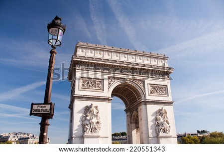 Paris - The Arc de Triomphe de l'Ã?Â?toile - stock photo