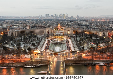 Paris tour eiffel view after sunset in winter time - stock photo