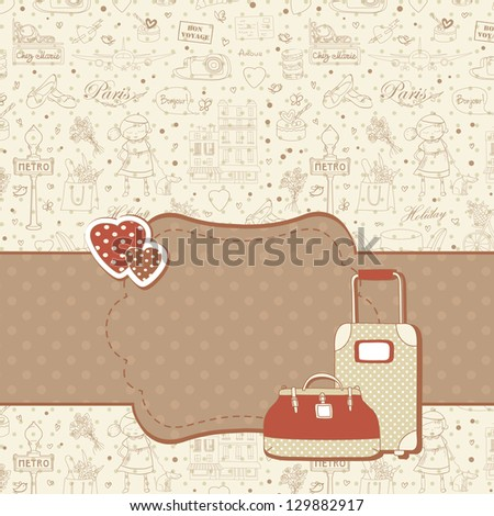 Paris travel background with hearts and luggage cases, copyspace for text. Retro vintage style. - stock photo