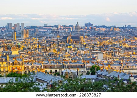 Paris up view from Sacre Coeur Basilica. - stock photo