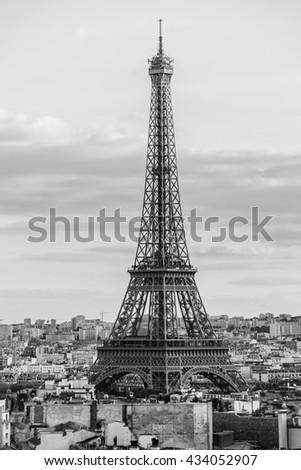 Paris view from Arc de Triomphe de l'Etoile. France. Black and white. - stock photo