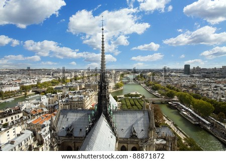 Paris view from Notre Dame Cathedral. - stock photo