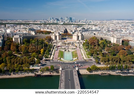 Paris view from the Eiffel tower - Trocadero and La Defence - stock photo