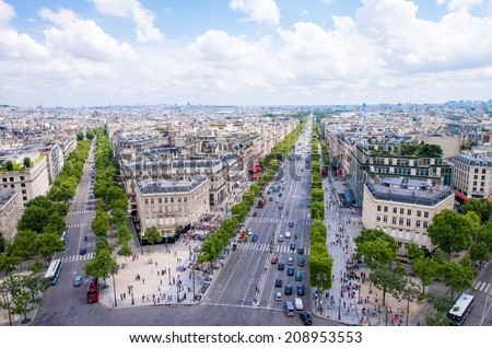 Paris. View of city streets at Etoile roundabout. Aerial panoramic from Triumph Arc. - stock photo