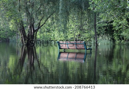 Park bench in reflection  - stock photo