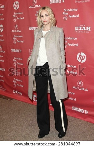 """PARK CITY, UT-JAN 28: Actress Leslie Bibb attends the """"Don Verdean"""" premiere at the Eccles Theater during the 2015 Sundance Film Festival on January 28, 2015 in Park City, Utah. - stock photo"""