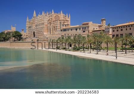 Park-de-la Mar and Cathedral Santa Maria. Palma-de-Majorca, Spain - stock photo