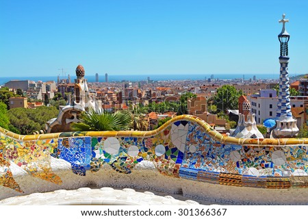 Park Guell by architect Antoni Gaudi in Barcelona, Spain - stock photo