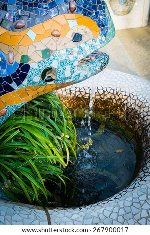 Park Guell in Barcelona by Gaudi, Spain - stock photo