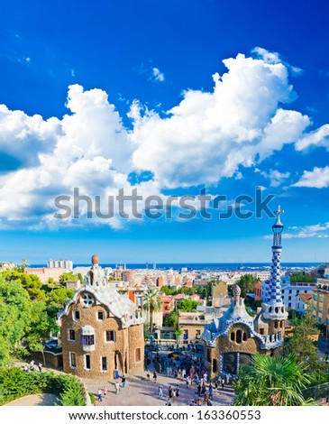 Park Guell in Barcelona, Spain (built 1900-1914) - stock photo