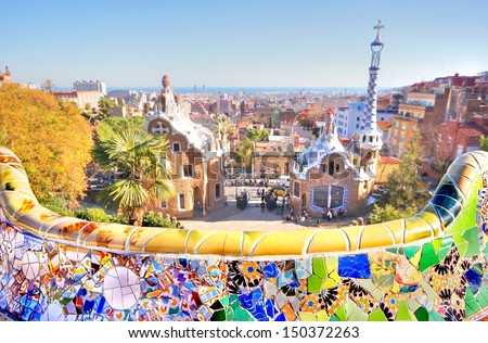 Park Guell is the famous architectural ceramic art designed by Antoni Gaudi in the city of barcelona, Spain - stock photo