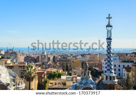 park guell tourist attractions in Barcelona,Spain. - stock photo