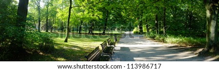 Park in autumn time - stock photo