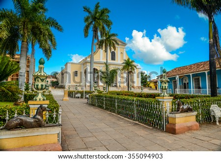 Park in central square of heritage city Trinidad in Cuba - stock photo