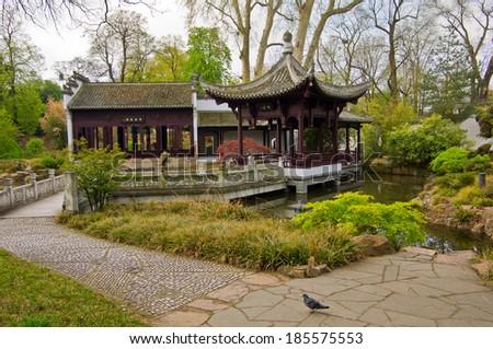 Park in eastern style. Germany, Frankfurt am Main - stock photo