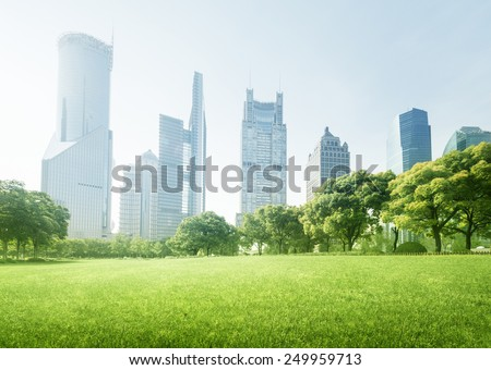 park in  lujiazui financial centre, Shanghai, China - stock photo