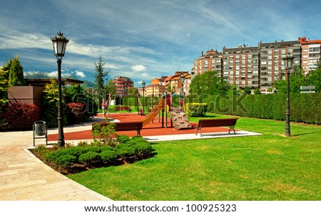 Park in the city in Oviedo, Spain - stock photo