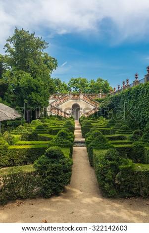 Park Labyrinth landscape in Barcelona, Spain - stock photo