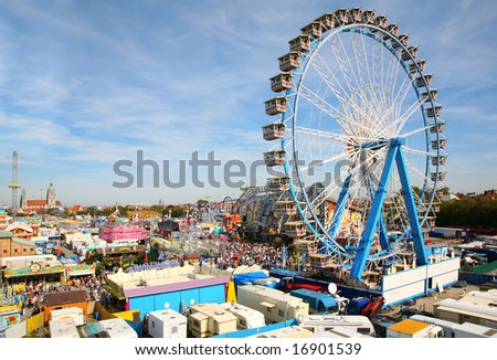 park of attractions. Munich Octoberfest. - stock photo