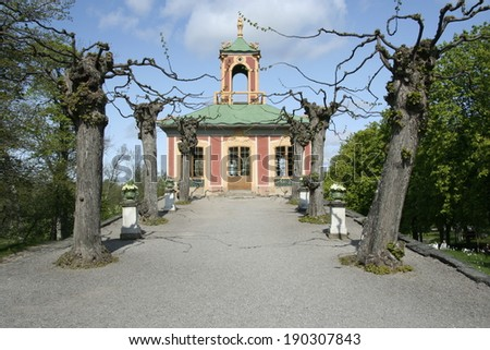 Park of the Drottningholm palace in Stockholm, Sweden. - stock photo