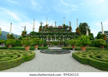 park on the island of Isola Bella. Northern Italy, Lake Maggiore - stock photo