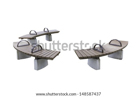 park rounded wooden benches isolated on white background with clipping path - stock photo