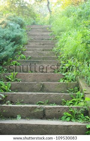 park stone stairs - stock photo