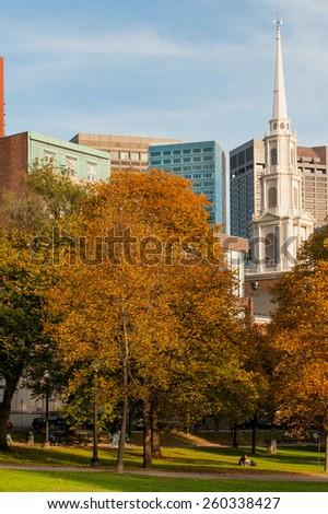 Park street church in famous Boston Common park - stock photo