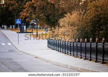 Park track fence - stock photo