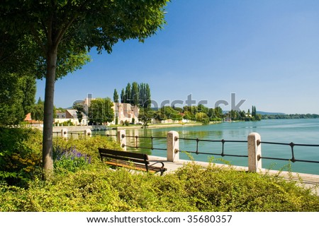 park with a lake in Tata, Hungary - stock photo