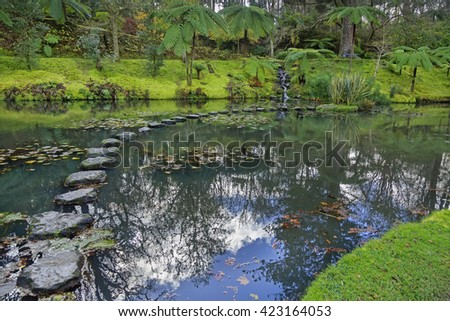 Park with palms and pool on Azores - stock photo