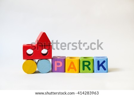 PARK word written on wood blocks, white background with copyspace - stock photo