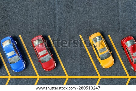 Parked cars on the parking. One place is free - stock photo