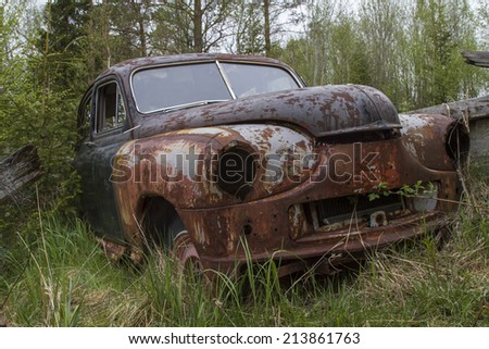 Parked in the woods and then forget - stock photo