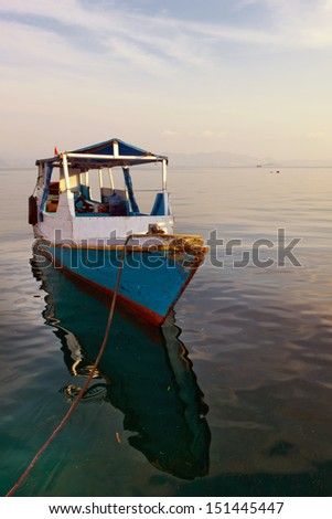 Parked Resort Boat in Flores, Indonesia - stock photo